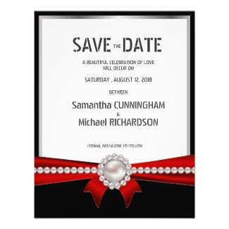 """4.25x5.5"""" Glamour Luxury Pearls Save The Date Announcements"""