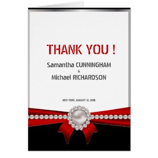 """4.25x5.5"""" Glamour Luxury Pearls Thank You Card"""