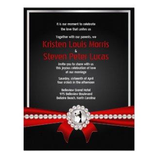 "4.25x5.5"" Glamour Luxury Pearls Wedding Invitation"