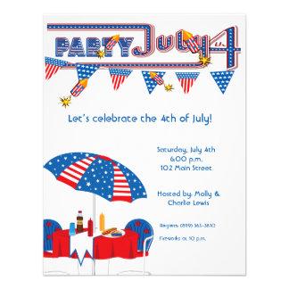 "4.25x5.5""July 4th BBQ Party Invitation Announcemen"