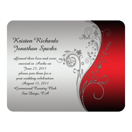 4.25x5.5 Red Black Silver Flower Post Wedding Invitation