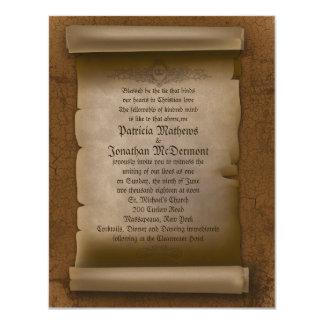 "4.25x5.5""  Vintage Old Paper Wedding Invitation"