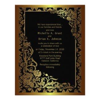 "4.25x 5.5"" Damask Luxury Golden Black Wedding Invi Announcements"