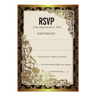 "4.25x 5.5"" Damask Luxury Golden RSVP Wedding Card"