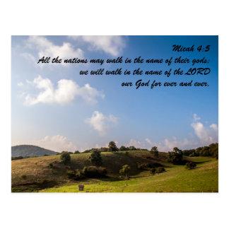 4:5 de Micah todas las naciones pueden caminar en Tarjetas Postales