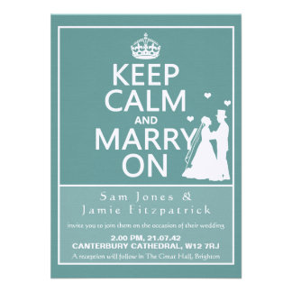 "4.5"" Keep Calm and Marry On Wedding Invitation"