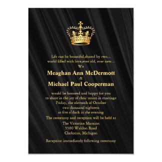 "4.5"" x 6.25"" Abstract Black Silk Satin Crown Card"