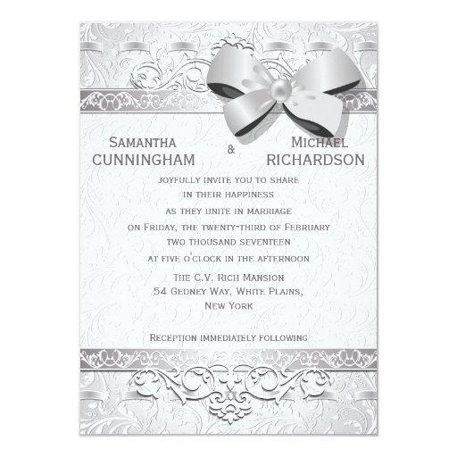 """4,5 x 6,25"""" arco floral de plata moderno del invitación 11,4 x 15,8 cm"""