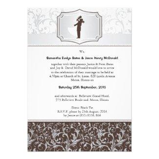 """4.5 x 6.25"""" Damask Vintage Elegant Wedding Invite"""