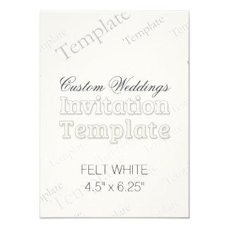"4.5"" x 6.25"" Felt White Custom Wedding Invitation"