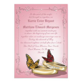 "4.5 x 6.25"" Modern Gold Rings And Butterflies Pink Card"