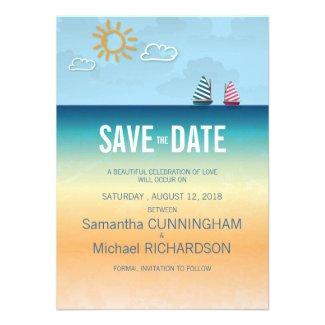 4.5x625. Ocean Sand Beach Theme Wedding Save The Invitations