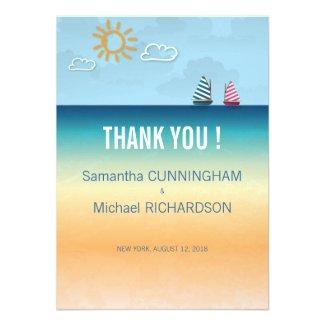 4.5x625. Ocean Sand Beach Theme Wedding Thank You Invites