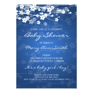4.5x6.25 Baby Shower Cherry Blossom Blue 4.5x6.25 Paper Invitation Card