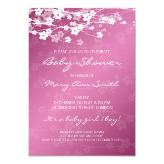 4.5x6.25 Baby Shower Cherry Blossom Pink 4.5x6.25 Paper Invitation Card