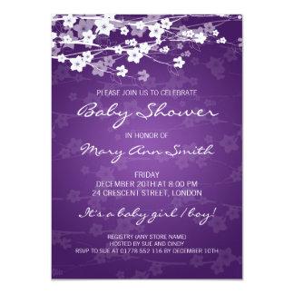 4.5x6.25 Baby Shower Cherry Blossom Purple 4.5x6.25 Paper Invitation Card