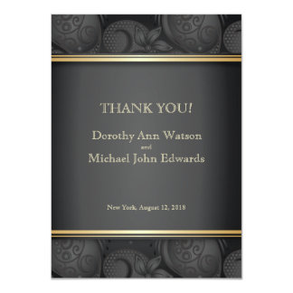 4.5x6.25 Black Luxury Floral Wedding Thank You Ca 4.5x6.25 Paper Invitation Card