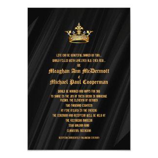 "4.5x6.25"" Black Silk  Royal Queen Crown Invitation"