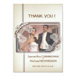 "4.5x6.25"" Damask Modern Photo Wedding Thank You Personalized Invitations"