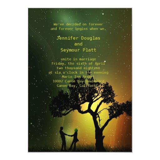 4.5x6.25 Midnight Moonlight Couple Dance Invition 4.5x6.25 Paper Invitation Card
