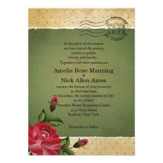 "4.5x6.25"" Vintage Grunge Floral Wedding Invitation"