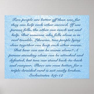 4:9 de Ecclesiastes del verso de la biblia del ami Póster
