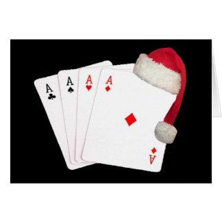 4 Aces Merry Christmas with Santa Cap Card