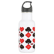 4 Aces Playing Cards Pattern 16oz Water Bottle