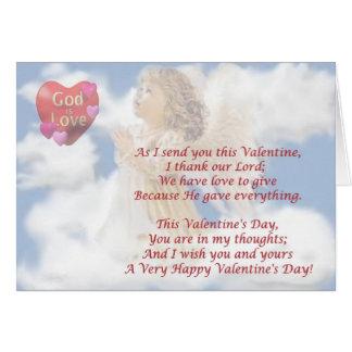 4. Angelic God Is Love Religious Valentine Design Card