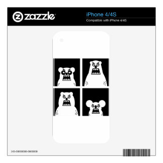 4 Angry Bears Skins For iPhone 4S