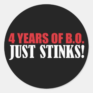 ¡4 años de hedores de BO apenas! Etiqueta Redonda