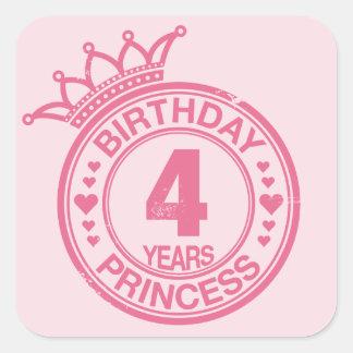 4 años - princesa del cumpleaños - rosa pegatina cuadrada