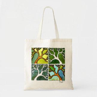 4 árboles en acuarela y pluma y tinta bolsa tela barata