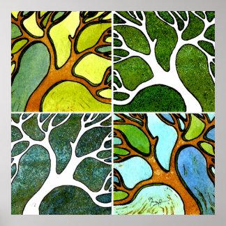4 árboles tallados mano en acuarela y pluma y tint póster