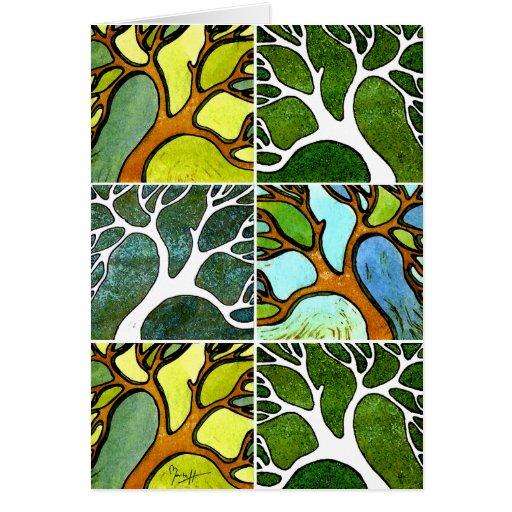4 árboles tallados mano en acuarela y pluma y tint felicitacion