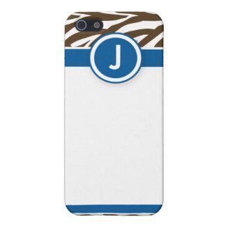 4 azules/chocolates enrrollados de la cebra iPhone 5 carcasas