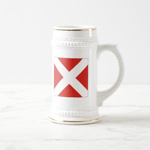 (4) bandera de señal cuatro tazas de café