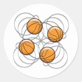 4 Basketball Pattern - 3D Classic Round Sticker