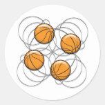 4 Basketball Pattern - 3D Round Stickers