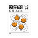 4 Basketballs Pattern 3d Postage