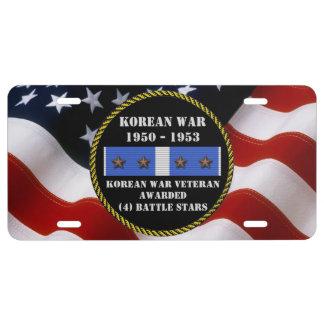 4 BATTLE STARS KOREAN WAR VETERAN LICENSE PLATE