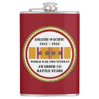 4 BATTLE STARS WWII Asiatic Pacific Veteran Hip Flask
