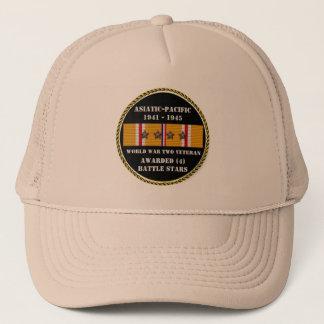 4 BATTLE STARS WWII Asiatic Pacific Veteran Trucker Hat