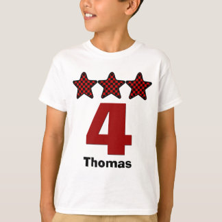 4 Birthday Boy Three Stars Big Number Custom Name T-Shirt