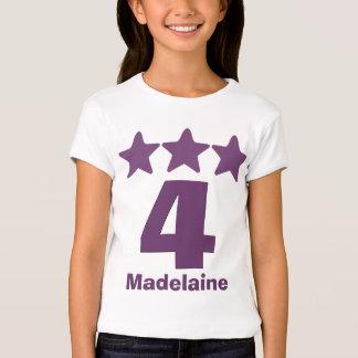 4 Birthday Girl Three Stars Big Number PURPLE v2 T-Shirt