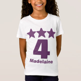 4 Birthday Girl Three Stars Big Number PURPLE v2 T-Shirt