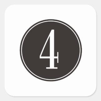 #4 Black Circle Square Sticker