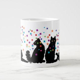 4 Black Party Cats Jumbo Mug