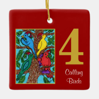 4 Calling Birds Cute Animals & Typography Ceramic Ornament