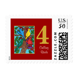 4 Calling Birds Cute Animals & Typography Postage